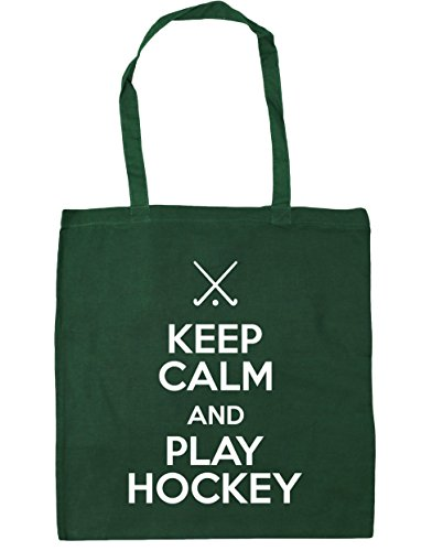 HippoWarehouse Keep Calm and Play Hockey Tote Shopping Gym Beach Bag 42cm x38cm, 10 litres Bottle Green