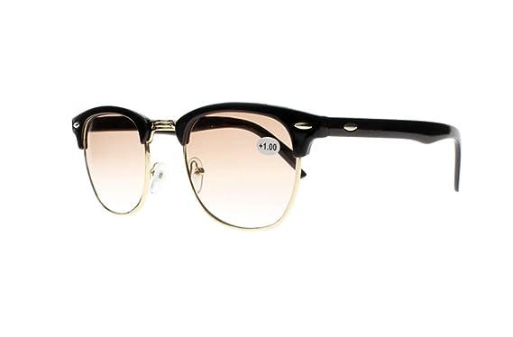 2d432906b7b5 Amazon.com  Retro Black Tortoise Horned Rim Tinted Lens Reading Glasses  Nerd Geek Sun Readers Sunglasses (Black+Brown Lens