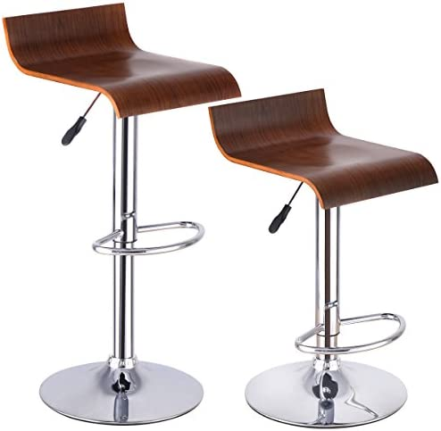 Costway Furniture Modern BentWood Bar Stool Air Lift Adjustable Swivel Dinning Counter Chair with Walnut Seat, Set Of 2