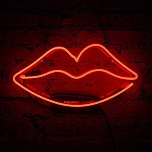 Neon Sign Lip Neon Light Handmade Glass Red Neon Light Signs for Girls Bedroom Lipstick Store Bar Pud Hotel Christmas Party Decor Wall Sign Ultra Bright Night Light 13.4 x - Glass Lipstick Red