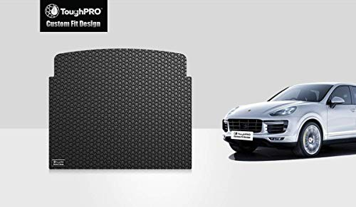 ToughPRO Cargo/Trunk Mat Compatible with Porsche Cayenne - All Weather - Heavy Duty - (Made in USA) - Black Rubber - 2011, 2012, 2013, 2014, 2015, 2016, 2017, ()