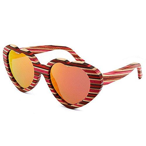 Strips Sol Beach de de Protección polarizadas Conducción p de Uiophjkl Madera Gafas Rojo Heart Gafas a Shape Hechas Mano Adecuado Gafas Sol UV Women's de espejados Sol Color Planos Sunglasses Lentes WqwqT4SF0