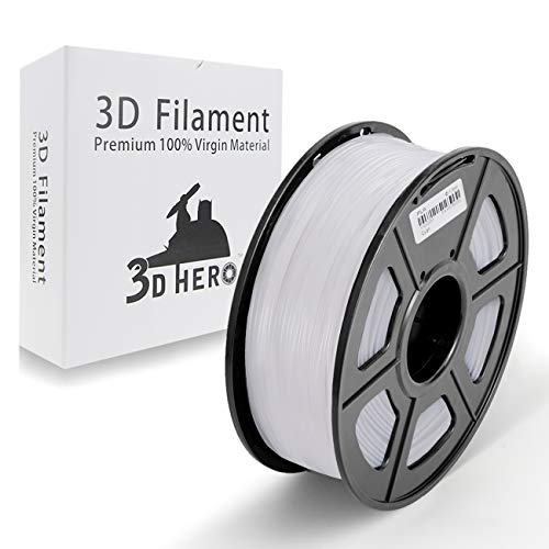 White PLA 3D Printer Filament 1.75 mm 1KG Spool, Dimensional Accuracy +/- 0.02 mm,(Like Snow White)- No Clogging by 3D Hero