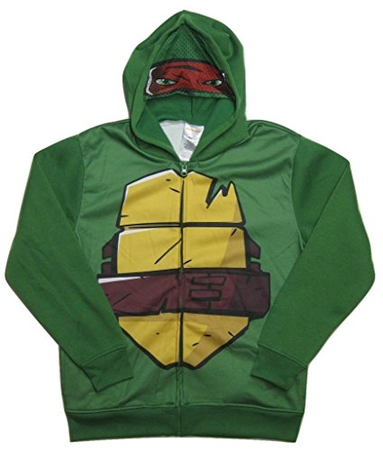 [Teenage Mutant Ninja Turtles Boys' Raphael Costume Hoodie, Green, Large] (Raphael Kids Costumes Hoodie)