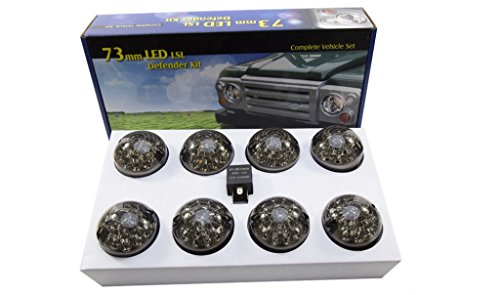 LAND ROVER DEFENDER 90 110 SMOKED LED UPGRADE LAMPS KIT 73 MM LED STYLE LIGHTS