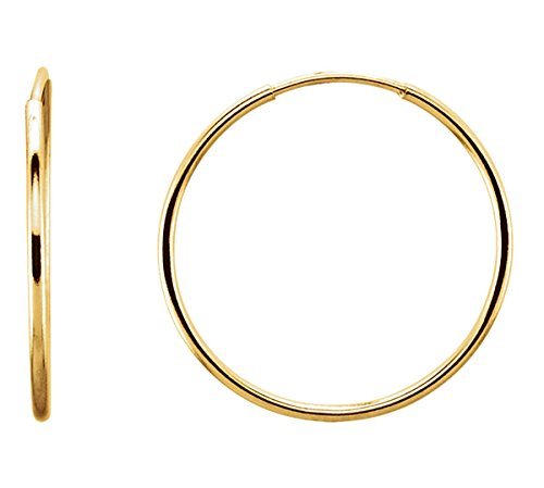 14K Gold Thin Continuous Endless Hoop Earrings (1mm Tube) (20mm - Yellow Gold)