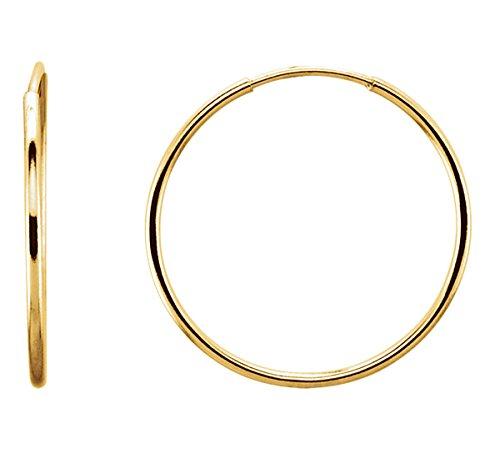 14K Gold Thin Continuous Endless Hoop Earrings (1mm Tube) (20mm - Yellow Gold) 14k 1mm Hoop Earrings