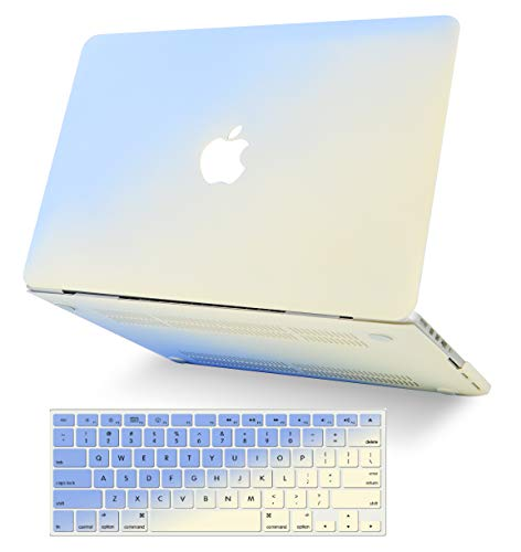"KECC Laptop Case for MacBook Air 13"" w/Keyboard Cover Plastic Hard Shell Case A1466/A1369 2 in 1 Bundle (Blue Cream)"