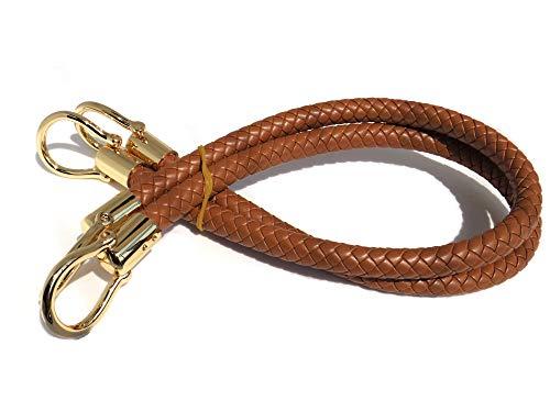 market86 13mm Width DIY Handbag Accessories Braided Pu Leather Purse Handles Handbag Straps Detachable Bunckles Length 23.6 Inches (Camel(2 - Handle Leather Handbag