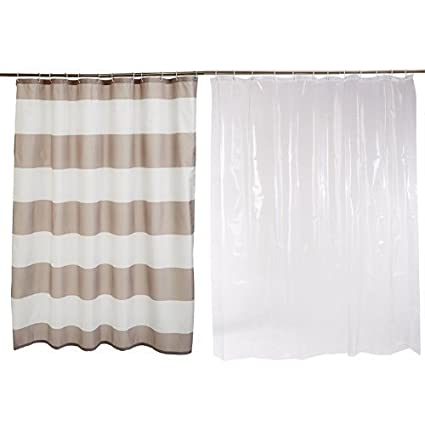 AmazonBasics Shower Curtain With Hooks Grey Stripe And Liner Clear