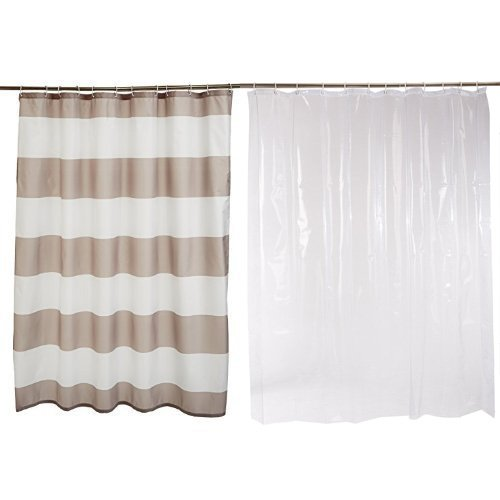 AmazonBasics Shower Curtain with Hooks (Grey Stripe) and Shower Curtain Liner (Clear) Set by AmazonBasics (Image #6)