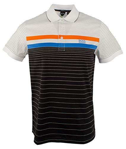 BOSS Green Men's Paddy 3 Sporty Multicolor Stripe Polo, Black/Gray, Small