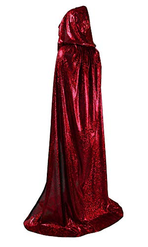 OurLore Unisex Full Length Hooded Cape Halloween Christmas Adult Cloak (Large, Wine Red) -