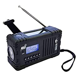 Kyng Electronics, Solar NOAA Weather Radio for Emergency with Flashlight, AM/FM, Hand Crank, 2200 mAh Rechargeable Power Bank for iPhone/Smart Phone