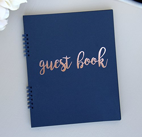 Navy Guest Book for Wedding, Bridal Shower Guest Book Polaroid Pictures, Birthday Guestbook Rose Gold Foil Softcover, 9.5