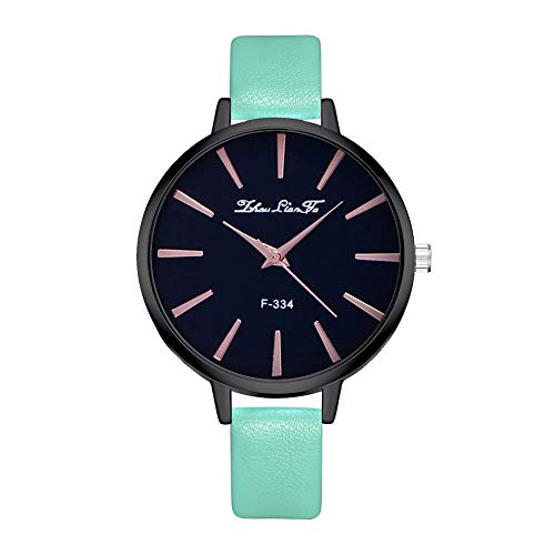 (Saying Ladies Wristwatch Quartz Watch Woman's Bracelets Leather Watches Band Bracelets Business Round Case Timepiece Fashion Casual Dress Watches Black Wrist Watch (Mint Green))