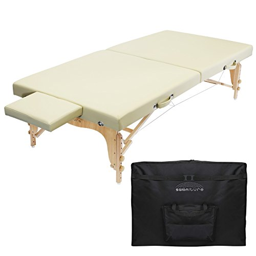 Saloniture Portable Physical Therapy Massage Table - Low to Ground Stretching Treatment Mat Platform - Cream ()