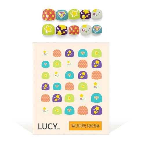 Bong Bong Non-Toxic Nail Art Stickers For Kids 3-7yo - Colorful, Cute, Super Hero, Glitter - Long Lasting (30 Stickers) - Shiny Star ... by Lucy Beauty Market