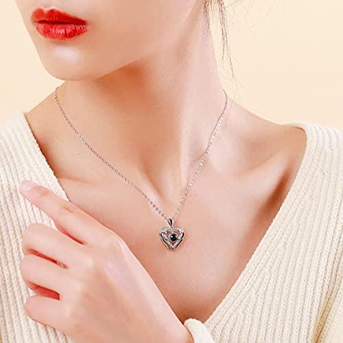YDD Silber personalisierte Bild Halskette für Damen, 100 Language I Love You Halskette Projektion Foto Halskette S925 Engelsflügel Halskette Feder Halskette Geschenk für Mädchen Ihr 18''+1''+1''