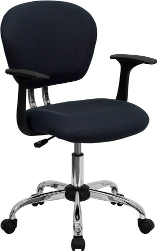 Flash Furniture Mid-Back Gray Mesh Swivel Task Chair with Chrome Base and Arms