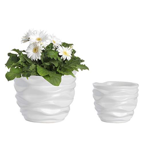 White Ceramic Flower Pots, Modern Design Waving Curve Texture Tabletop Succulent Planter, Set of 2 ...