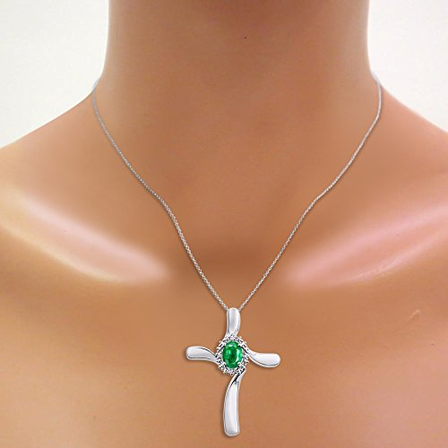 Diamond & Emerald Cross Pendant Necklace Set In Sterling Silver .925 with 18'' Chain by Rylos (Image #2)