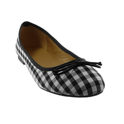 On cm Zapatillas Nodo Tacón Ancho a Cuadros Angkorly Slip Negro Bailarinas Mujer Moda 1 IBx7xqwp6