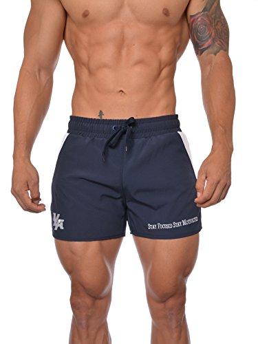 Youngla Mens Bodybuilding Lift Shorts W Zipper Pockets Navy White Large