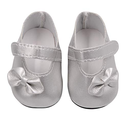 Gbell Cute Glitter Bow Dress Shoes Bowknot Doll Shoes for 18 Inch American Girl | Our Generation Doll Accessory Girls' Toy,Little Girl Xmas Birthday Toys Gift (Silver) -
