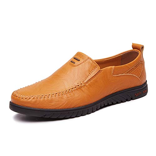 Italian Mens Shoes Casual Brands Genuine Leather Men Loafers Luxury Moccasins,Yellow,8.5