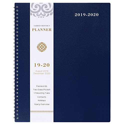 2019-2020 Monthly Planner - 17-Month Planner with Tabs & Pocket & Label, Contacts and Passwords, 8.5