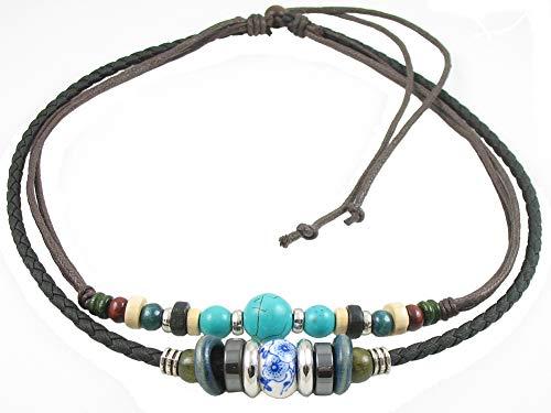 - Ancient Tribe Unisex Adjustable Hemp Black Leather Choker Necklace Turquoise Bead
