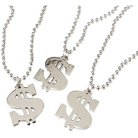 Dollar Sign Necklace,1 Dozen -