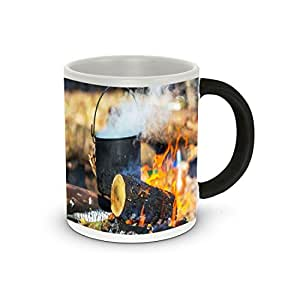 Rikki KnightTM Kettle On Outdoor Bonfire Design Heat Sensitive Color Change 11 oz Photo Quality Ceramic Coffee Mug Cup