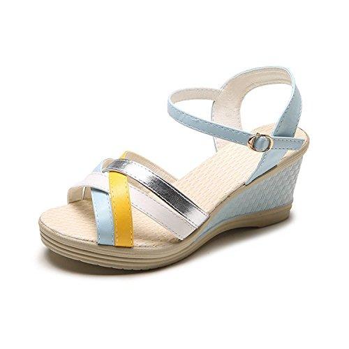 tacones verano white con sandalias corbatas de altos puntera UE de sandalias RUGAI Sandalia y qPY0x66