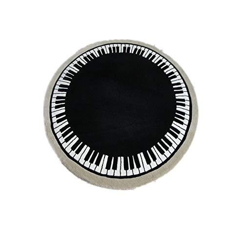 Judy Dre am Round Piano Mat Music Piano Rugs Black and White Piano Carpet Living Room Morden Rug (120cmX120cm) ()