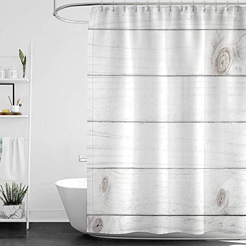 homecoco Shower Curtains Prime Grey and White,Wooden Planks Horizontal Lined Rustic Timber -