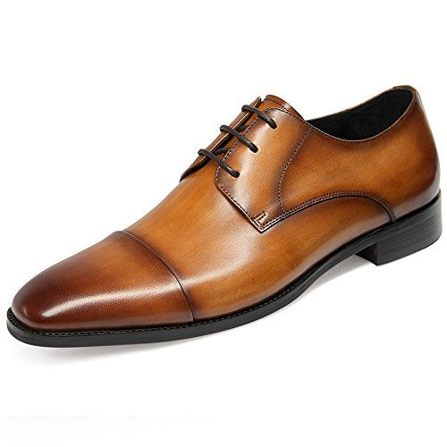 GIFENNSE Men's Leather Cap-Toe Oxford Shoes Mens Dress Shoes(10US/Brown