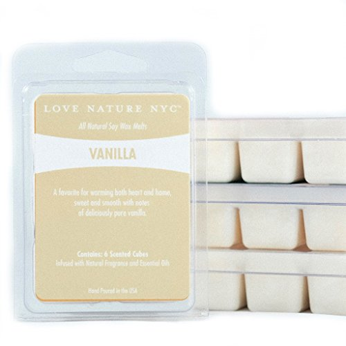 LOVE NATURE NYC Natural Scented Soy Wax Melts, (3 Pack), Vanilla Scented, Non-Toxic, for use in Electric or Tea Light Tart Warmers. (Vanilla)
