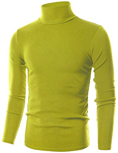 Ohoo Mens Slim Fit Flice Long Sleeve Pullover Flice Turtleneck /DCT005-OLIVEGREEN-2XL