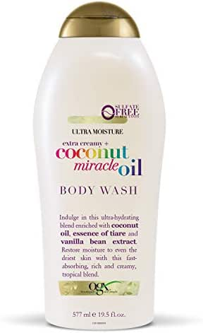 OGX Extra Creamy + Coconut Miracle Oil Ultra Moisture Body Wash, 19.5 Ounce