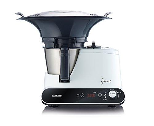 Severin KM 3895 James the Wondermachine All-in-one Küchenmaschine mit Kochfunktion (1050 Watt, 11 Funktionen) schwarz / weiß