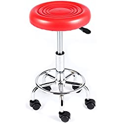 Rfiver Small Medical/Spa/Drafting Stool in Red 24 inch with wheels and Height Adjustment SC1002R