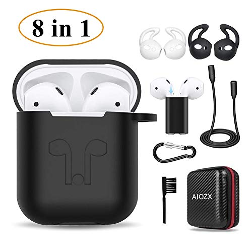 Airpods Case,AIOZX 8 in 1 Airpod 1 & 2 Accessories Set Protective Silicone Cover Skin EVA Box Compatible Apple Airpods with Holder/Anti-Lost Strap/Cleaning Brush/Ear Hooks (Black Box&Black Case)