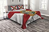 Lunarable American Bedspread Set Queen Size, Florida Flag Land of Sunshine Flowers Palms Rivers and Lakes Steamboat, Decorative Quilted 3 Piece Coverlet Set with 2 Pillow Shams, Red White Multicolor