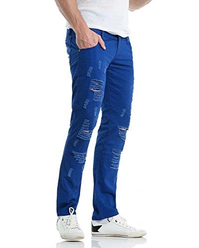 Moderne Bleu Royal Missmao Coton Casual En Slim Fit D'imitation Chino Homme Déchiré Mélange Pantalon Jeans qn4OZU7