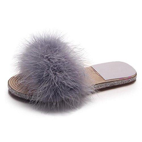 Sandals Slippers Rhinestone Flat Women's Summer COVOYYAR Grey Fur Sole Beach tqwI484