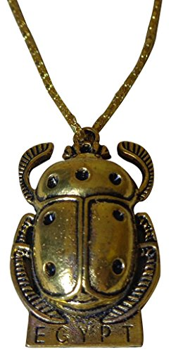 bonballoon Brass Scarab Beetle Necklace Pendant Egyptian Pharaoh Costume Jewelry accessory 102 (Model (Costume Jewelry Model)
