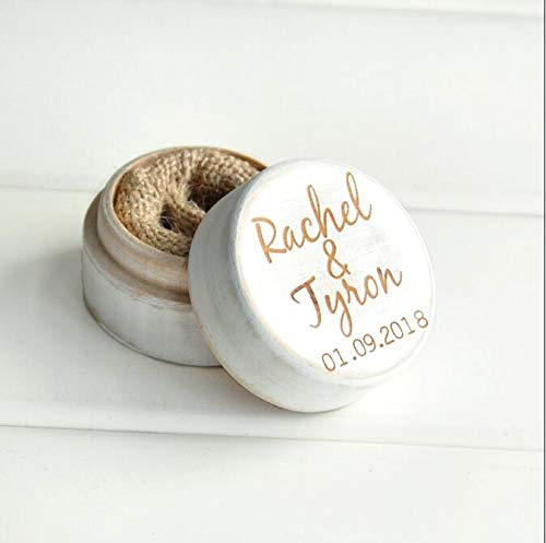 High Quality   Party DIY Decorations   Personalized Rustic Wedding Wood Ring Box Holder Custom Your Names and Date Wedding Ring Bearer Box   by -