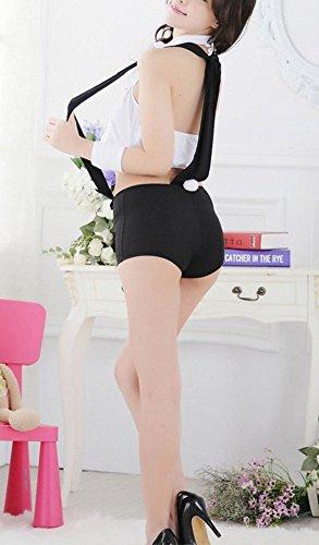 Paplan Mujer Cosplay de la ropa interior mordaz Bunny Girl camarero de la barra de vestuario Negro